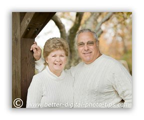 Look for existing backgrounds or other objects that you can use to frame the family pose