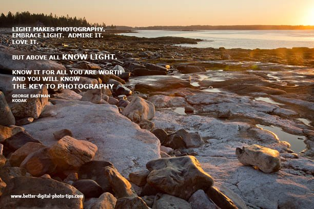Inspirational nature photo of rocks and light quote by George Eastman