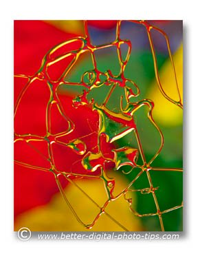 Use bright saturated colors to create artistic macro images