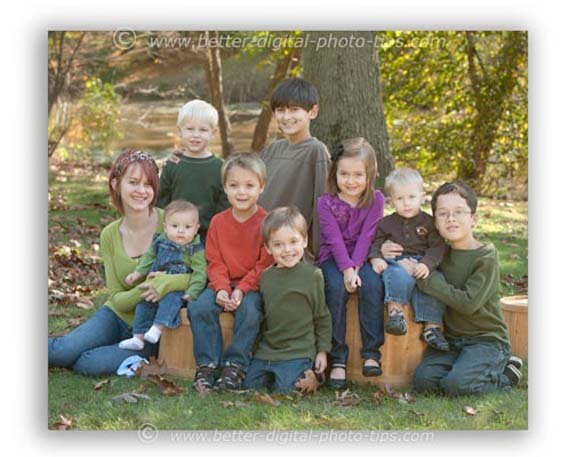 Outdoor family portrait of cousins