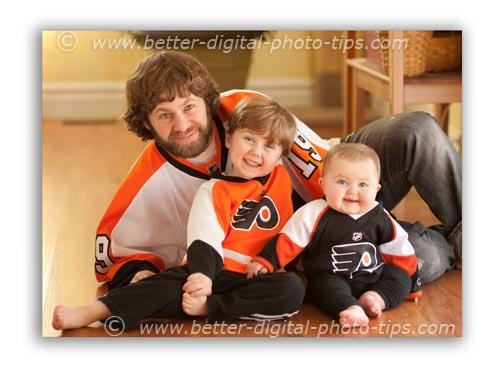 Family portrait of three - dad and his two kids