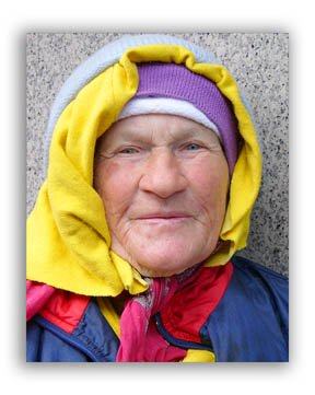 Color photo of an elderly woman