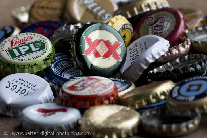 Bottle Caps Close-up With Tamron at 600mm -minimum Focusing Distance