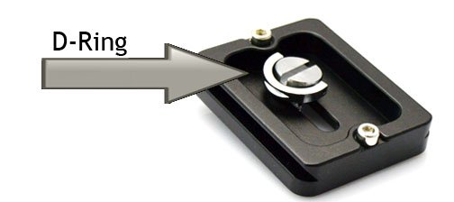 Bottom of quick release plate shows D-ring for easy detachment