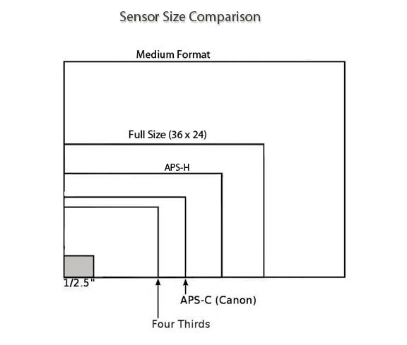 Cell phone camera sensor size comparison