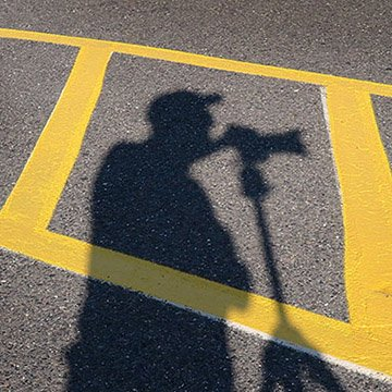 parking lot shadow selfie