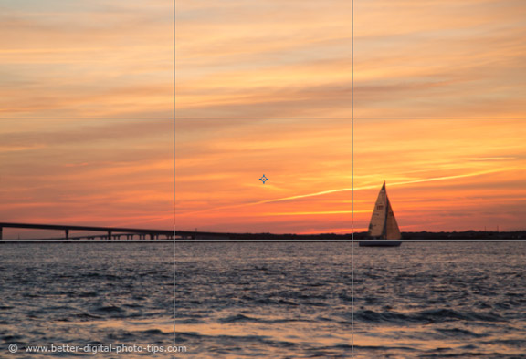 Illustration of Rule of Thirds and Sunset
