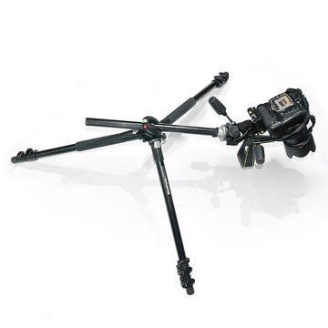 Macro photography tripod with tilting center post and wide spread legs