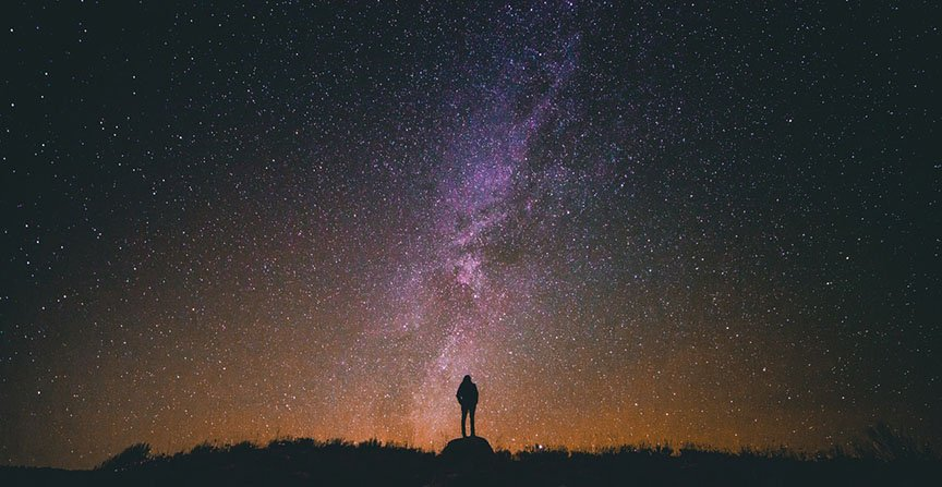 Night time portrait with stars