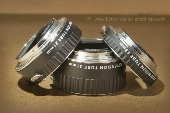 Set of 3 extension tubes for close-up photography